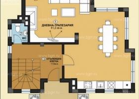 Фешенебельный дом с тремя спальнями около Бургаса. Планировка 1